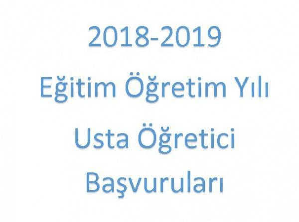 2018 - 2019 Usta Öğretici Başvuruları